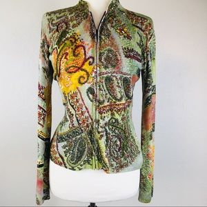 Alberto Makali Green Paisley Beaded Zip Up Sweater